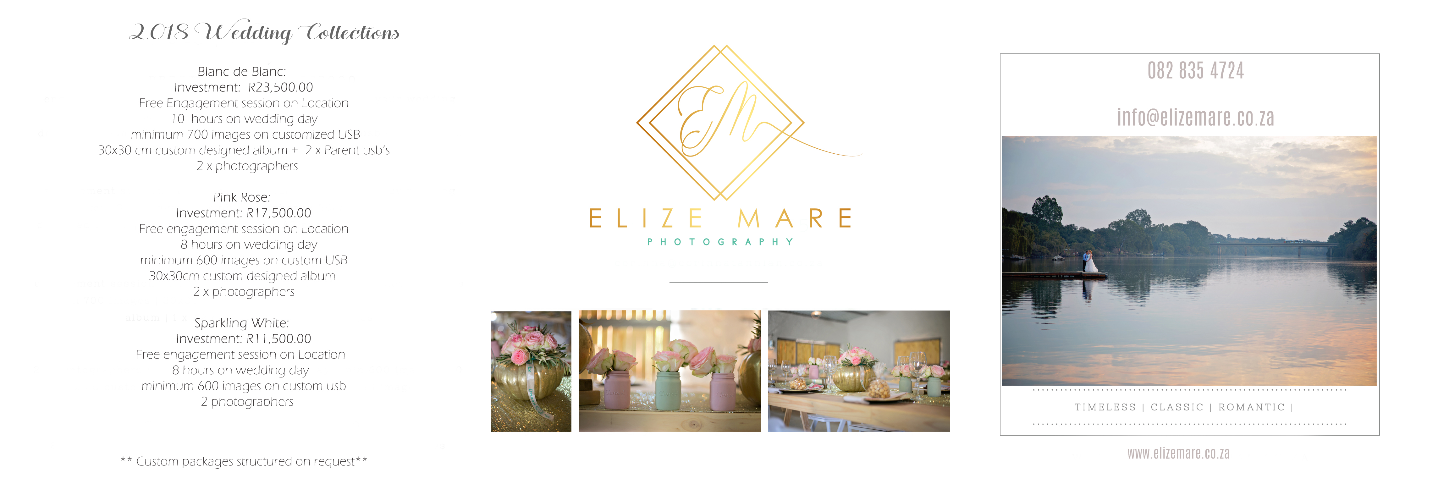 Elize Mare Photography Wedding Pricing for 2018